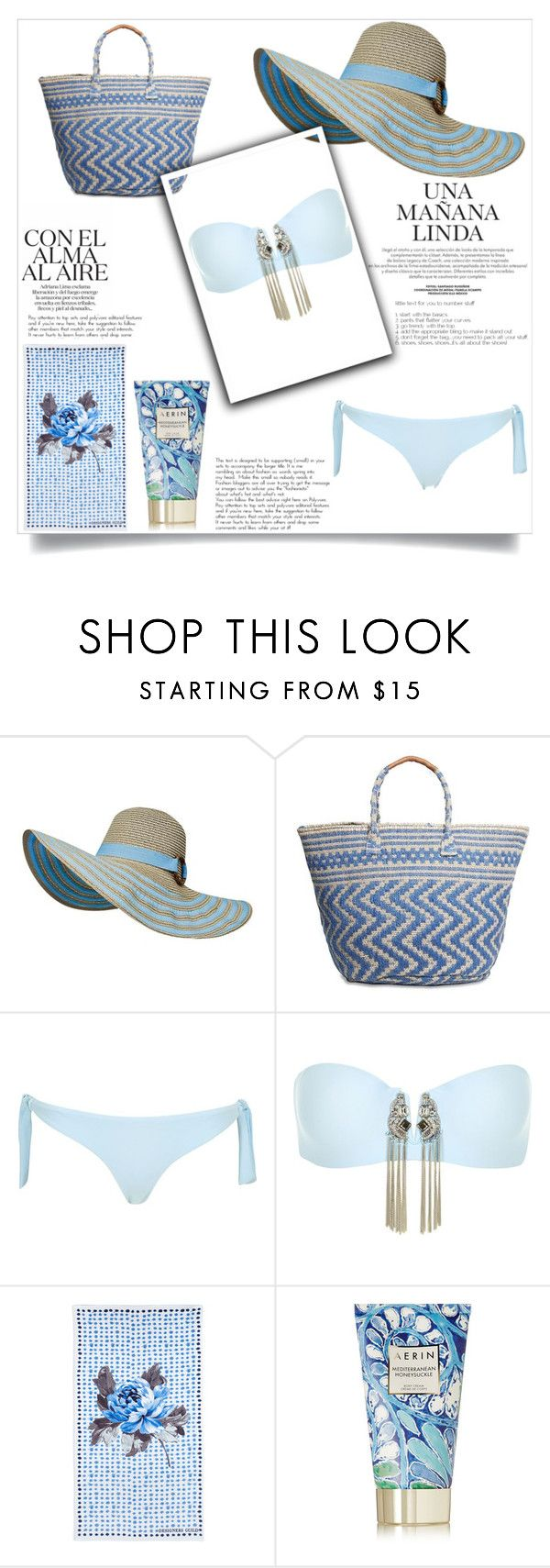 sea by anya2991 on Polyvore featuring moda, River Island, Lucky Brand, AERIN and Designers Guild