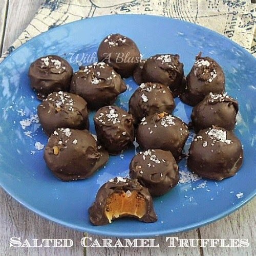 Salted Caramel Truffles ~ The easiest recipe with only 5 ingredients to make these scrumptious Truffles ~ be warned .. they are highly addictive ! #SaltedCaramel #CaramelTreats #Candy #Truffles