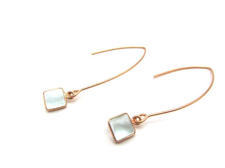 """Aquamarin - Ohrringe """"Aquamarin """"Rosé gold - ein Designerstück von Byoe-handgemaakte-sieraden bei DaWanda"""