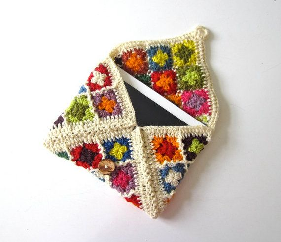 iPad case, iPad cover, iPad sleeve, Jolly Good iPad cosy, colorful, crochet, patchwork, granny square, lady gift, gift for her, organic wool on Etsy, $55.00