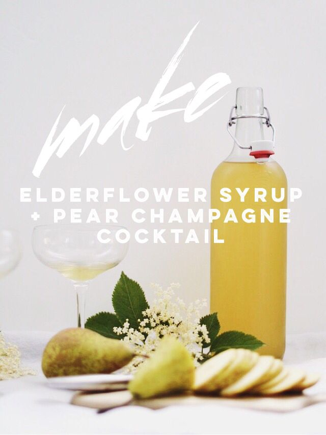 How to make Elderflower Syrup, plus mix it for a pear champagne cocktail recipe...