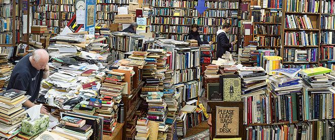 MacLeod's bookstore in Vancouver.  It's a beautiful idea in theory, but it would probably overwhelm.