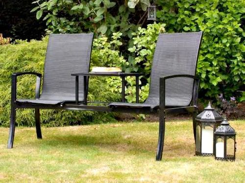 Garden Companion Set Bench Patio Love Seat Black Furniture Outdoor Glass Table #Suntime