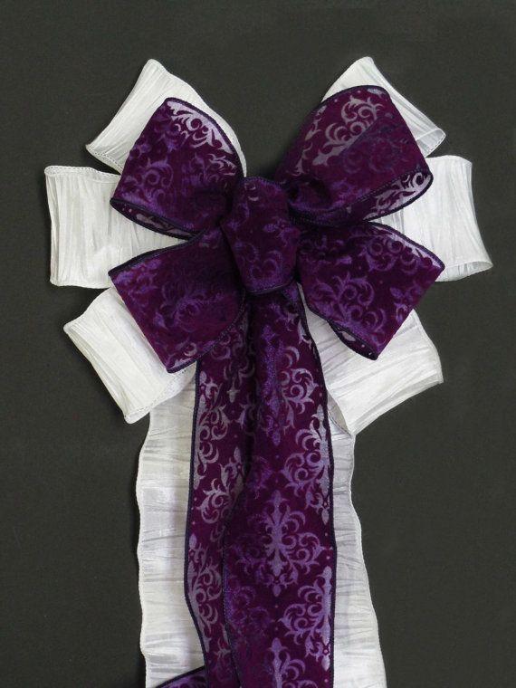 Custom order White Eggplant Deep Purple Damask Bow Church Aisles Wedding Decorative Pew Bow by greentraderllc Keywords: #weddings #jevelweddingplanning Follow Us: www.jevelweddingplanning.com  www.facebook.com/jevelweddingplanning/