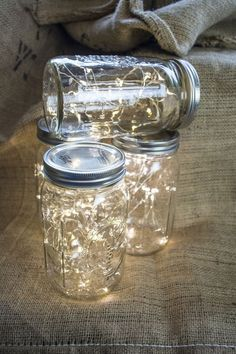 Mason jar lamps. Fairy lights, Great buy, Battery operated led lights with the smallest battery pack on the market for beautiful Mason jars This listing is for