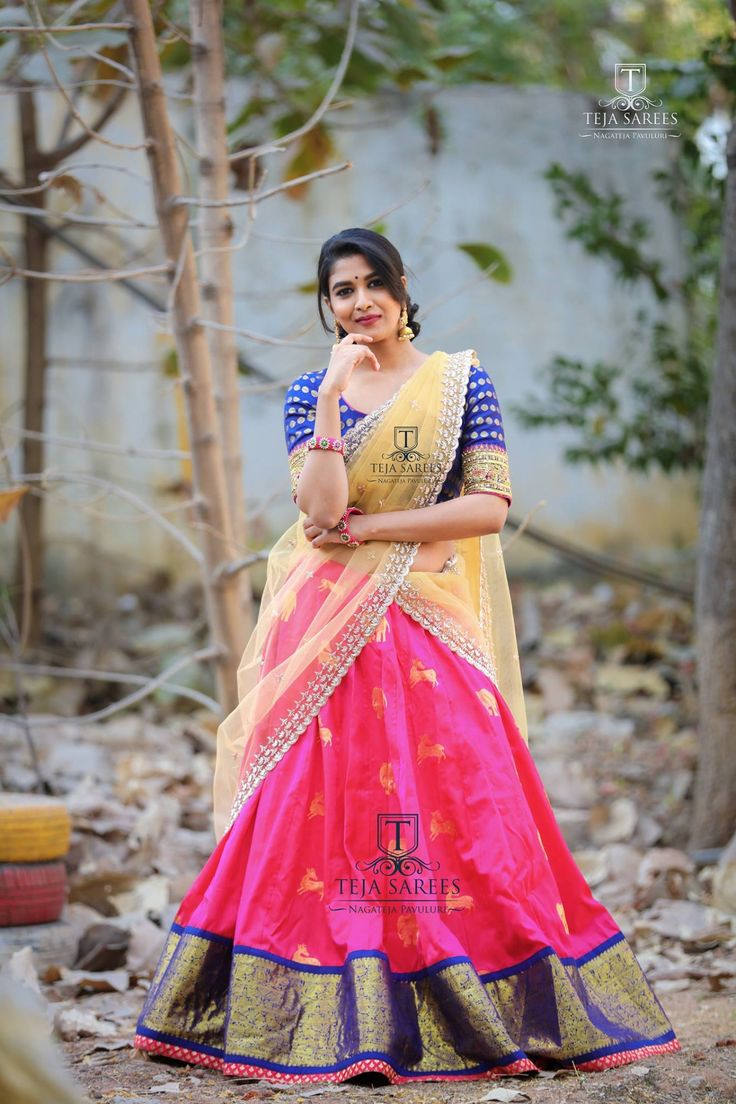 Sampradaya - 022.Available .Life is Short Make every outfit Count !!! BEautiful pink color patu lehenga and royal blue color designer pattu blouse with net dupatta.For orders/queries Call/ whats app on8341382382 orMail  tejasarees@yahoo.com. <br> Team who worked Model/Actress - Bhavana Rao. <br>Images- WedLock Creations. <br> Makeup