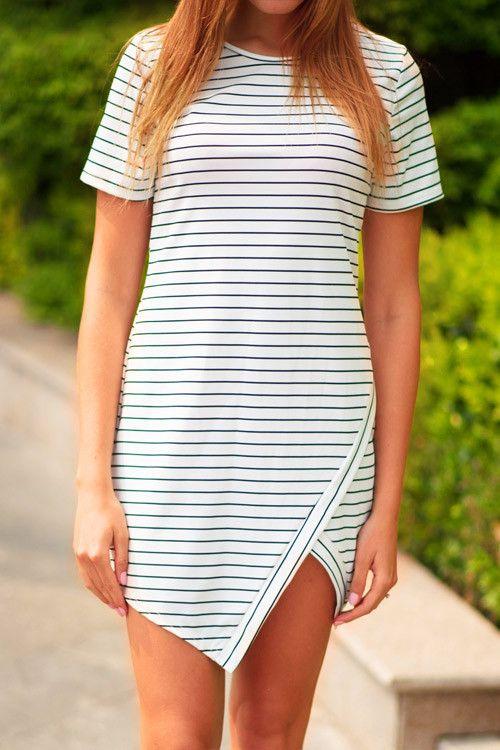 Cupshe Cut to Stripe Printing Slit Dress