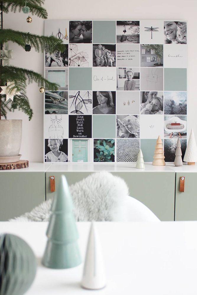 Design idee! Voeg gekleurde vakjes toe om meer rust te creëren in je Instawall | #design #interieur