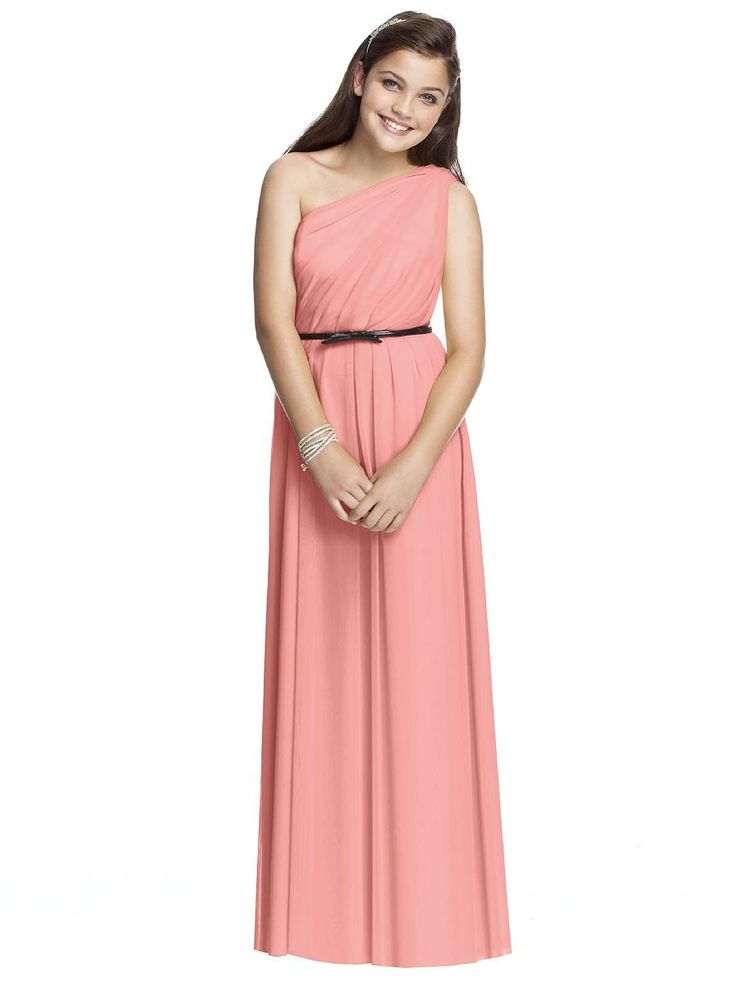 Dessy - Junior Bridesmaid dress - Chiffon One Shoulder - Available at Party Dress Express - 657 Quarry Street - Fall River - MA 02723 http://partydressexpress.com/detail.php?ProdId=10724410&CatId=77611&resPos=11