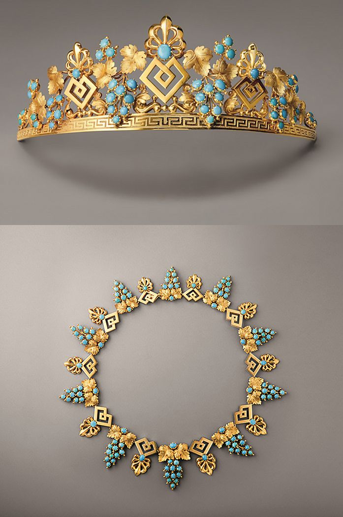 This gold and turquoise tiara and necklace, c.1825, illustrates the stylistic transition of the 1820s, incorporating the palmettes and meanders that had remained in vogue after the French Empire, enmeshed with vine branches that announced the naturalism of the Romantic style.  http://www.adorn-london.com/jewelry-inspiration/a-walk-through-chaumets-historical-jewels/ http://preziosamagazine.com/chaumet-un-ponte-tra-passato-presente-e-futuro/