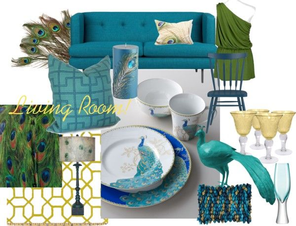 Living Room Peacock Decor By Tiffanyfleminglynn On Polyvore Pe
