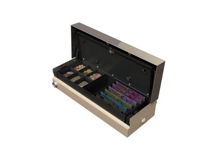 Cash Bases Fliptop Cash Drawer  460w x 170d x 100h Push Button inc 6 Note 6 Coin tray Lockable Lid White
