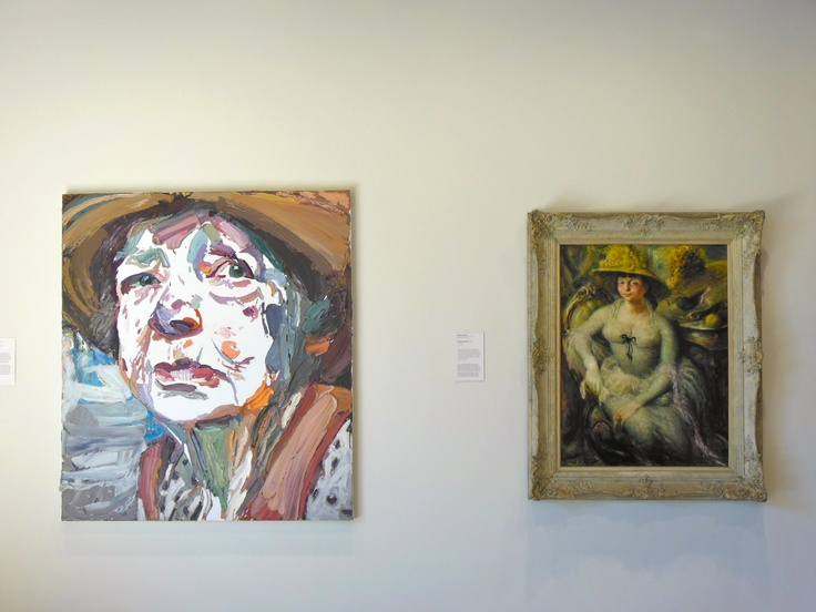 two portraits of Margaret Olley side by side, AGNSW (left Ben Quilty and right, Sir William Dobell)