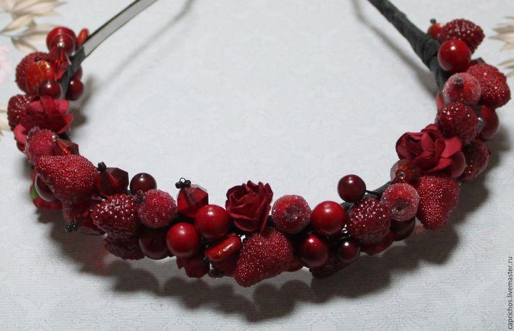Купить Bloody - ярко-красный, ободок для волос, ободок с ягодами, ladyinred, capricho, madeinmoscow, бусины
