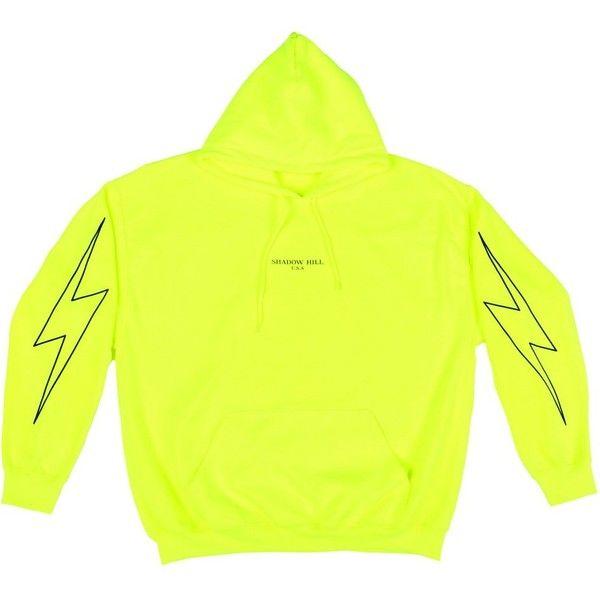 Safety Green Neon Flash hoodie ($75) ❤ liked on Polyvore featuring tops, hoodies, green hoodie, hooded sweatshirt, hooded pullover, neon yellow hoodie and neon green hoodies