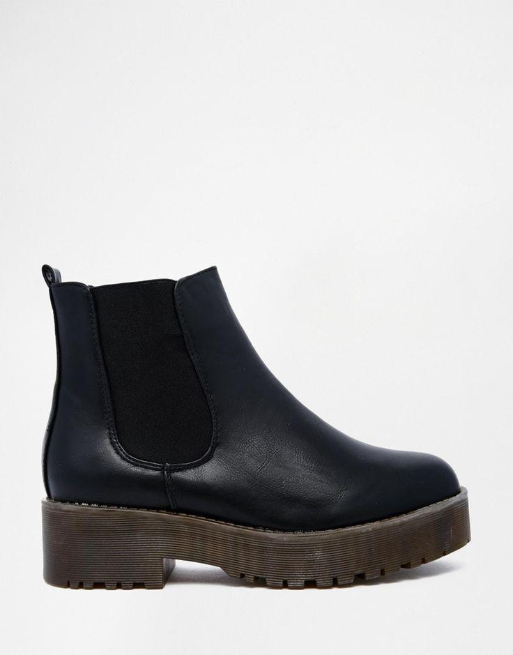Image 2 of Glamorous Black Flatform Chelsea Boots