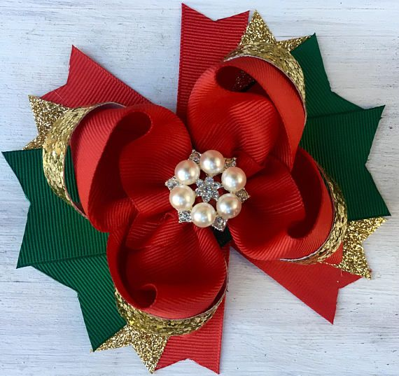 Red Green and Gold Christmas hair bow, Holiday hair bow, Red hair bow, red and gold hair bow, Christmas hair bow, girls holiday hair bow, Christmas headband for girls Beautiful and sparkly Red Green and Gold hair bow for girls with rhinestone center and green, red and gold tags. 5