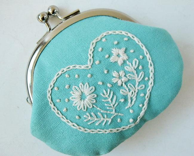 Handmade coin purse - embroidered heart flowers on aqua blue linen.