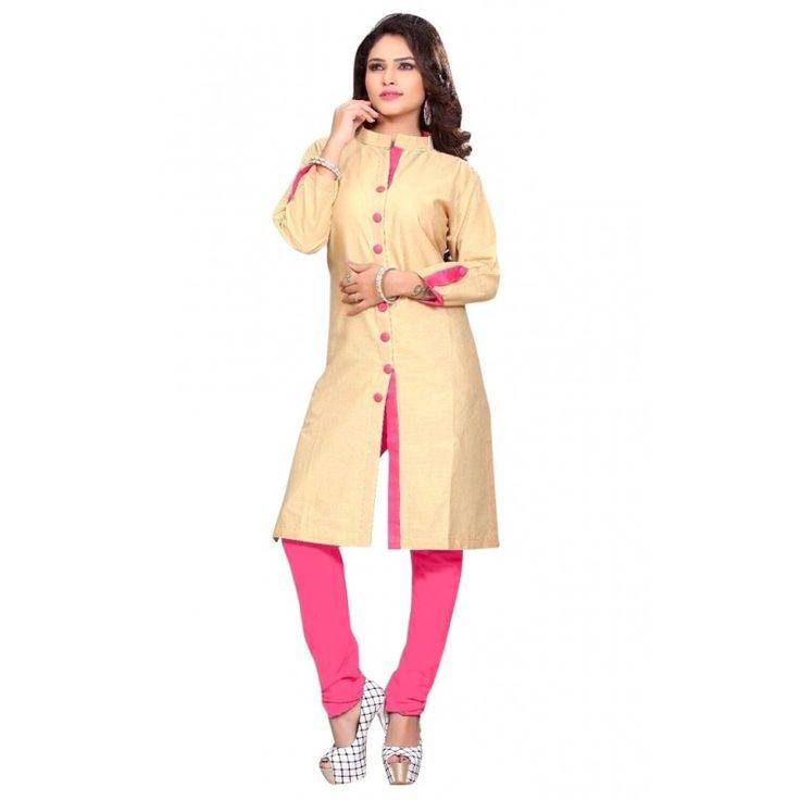 Casual Wear Cotton Cream & Pink Kurti - 50027