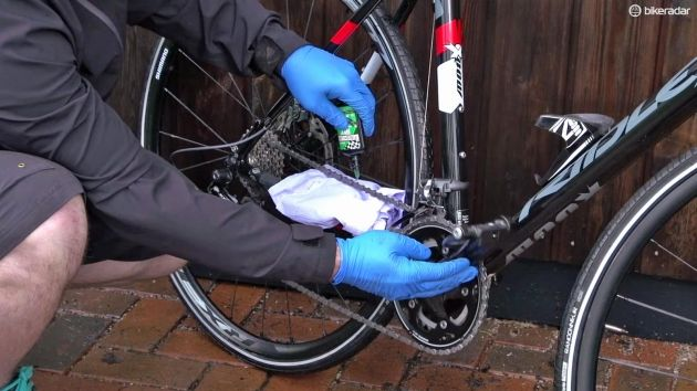 Lube the chain and wipe off any excess