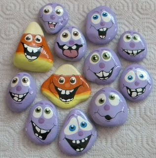 Painted rocks: cute faces.