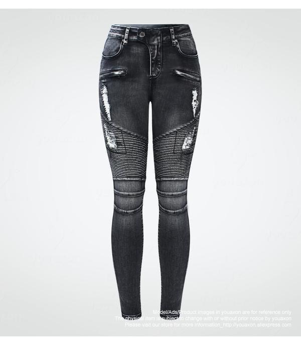 2019 Youaxon New Black Motorcycle Biker Zip Jeans Women`s Mid High Waist Stretch Denim Skinny Pants Motor Jeans For Women