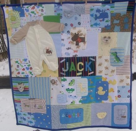 Quilt made from baby clothes.  Great way to repurpose and preserve his clothes.  It would be a cool way to show how far he's gone since he was a tiny preemie.  Also like to make a Christmas themed one after the first few years.