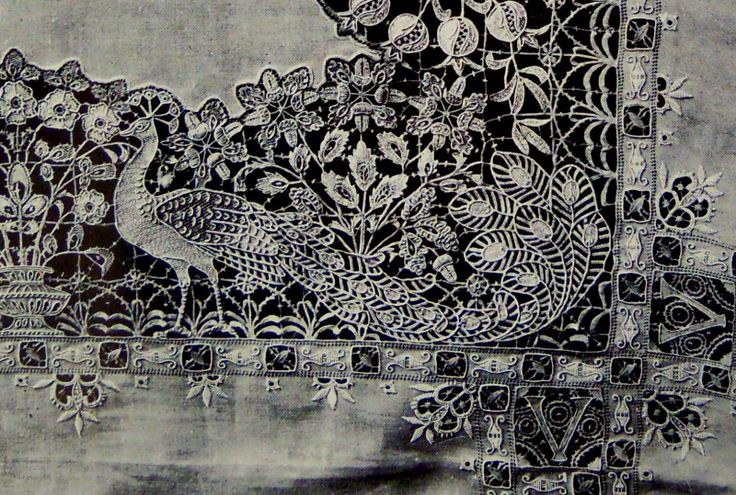 ⌖ Linen & Lace Luxuries ⌖  The Walk of Peacocks, antique lace tablecloth 1906
