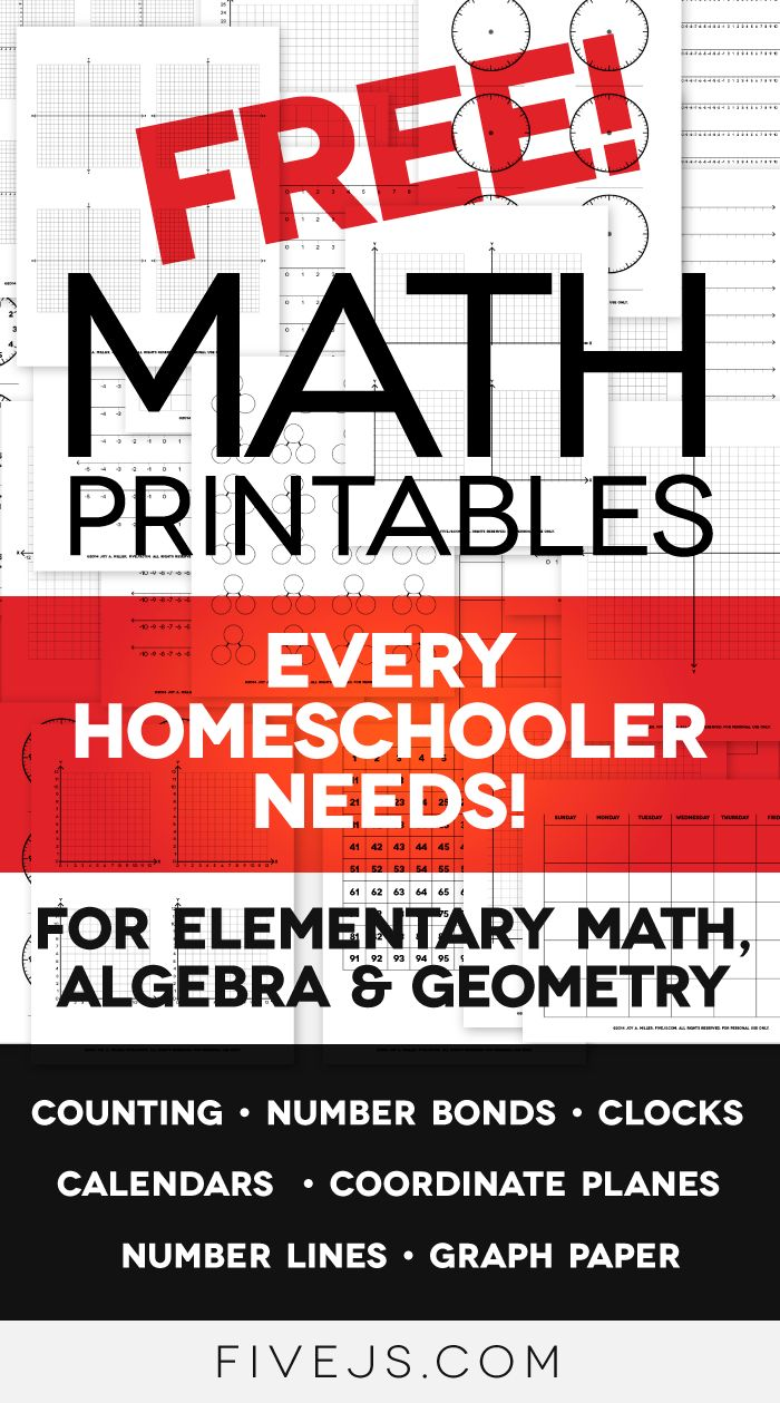 Free Math Worksheet Printables: Clocks, Graph Paper, Coordinate Planes, Number Lines, and More! - Five J's Homeschool