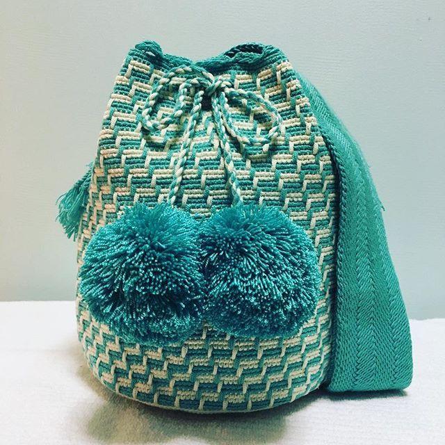 Wayuu Mochila bag Available #wayuubags #chilabags #mochilabags  #summerbags #beachbags #가방  콜롬비아 북부와 베네수엘라 북서 쪽의 과히 라 반도에 거주하는 아메리칸 인디언 민족 그룹인 와유(Wayuu)부족이 만드는 100% 핸드메이드제품 입니다. 컬러풀한 와유백의 색상은 와유부족의 삶과 일상생활이 담겨있습니다. #칠라백 #chilabags #모칠라백 #itbag #fashion #people #dicember #borsa #colorful #unique #handmade #ethnic #boho #virginmary #Colombia #wayuu #style #design #bag #needle #pompom #tiffanyblue #gifts #christmasgift #navidad