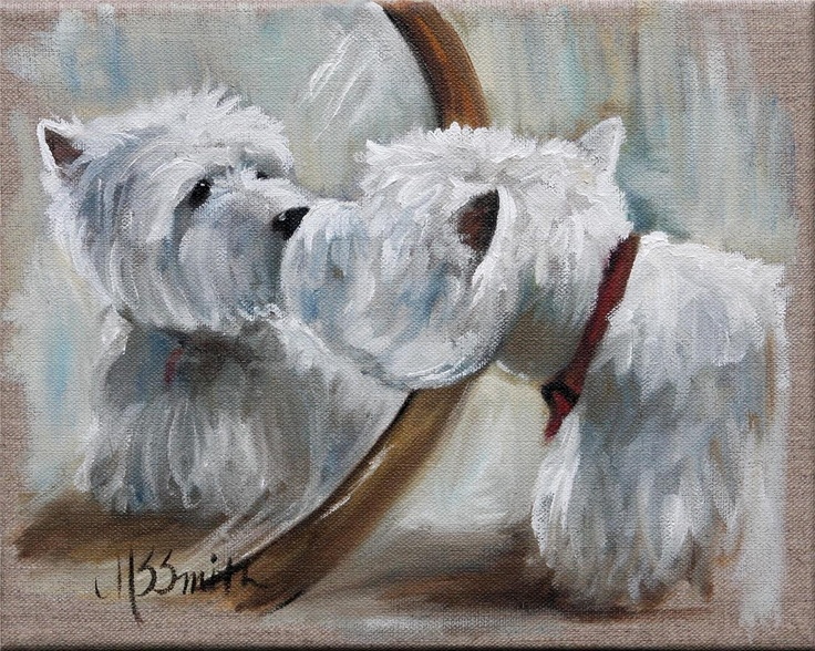 Oil Portrait - M S Smith: Highlands Terriers, Sparrows Smith, Gift Ideas, Westies Art, Dogs Art, Dogs Westies, West Highlands, West Highland Terrier, Dogs Painting