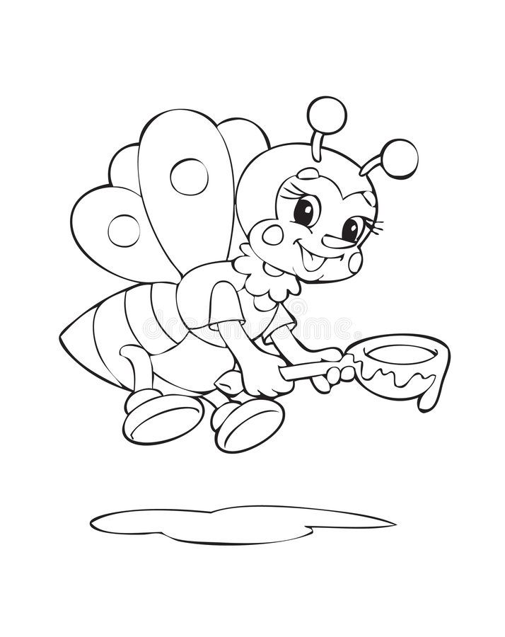 Bee Illustration Of The Bee Worker Sponsored Ad Sponsored Bee Bee Worker Illustration In 2020 Bee Coloring Pages Dog Coloring Book Cat Coloring Book