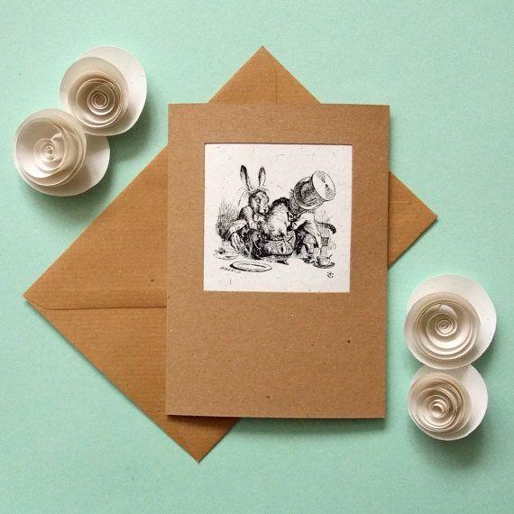 Alice in Wonderland card hand made blank greetings card