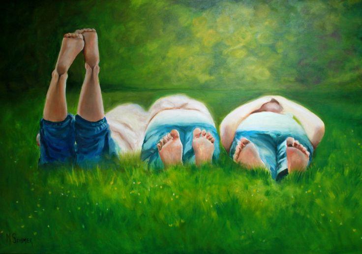 """""""De levensgenieters"""" Olieverf op doek 120 x 70 cm 380,="""
