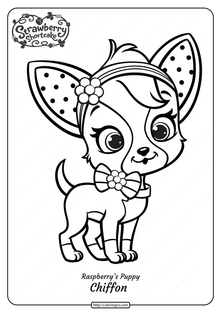 Printable Raspberry S Puppy Chiffon Coloring Page In 2020 Puppy Coloring Pages Dog Coloring Page Strawberry Shortcake Coloring Pages
