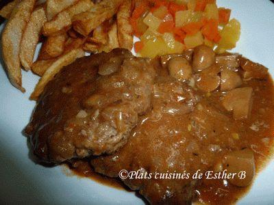 Les plats cuisinés de Esther B: Steak à la Salisbury mettre un peu + d'épices. Vite pour les repas de semaines