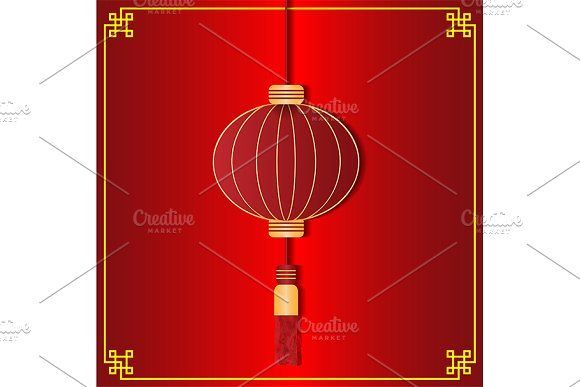 vector of red chinese lantern by charnsitr on @creativemarket