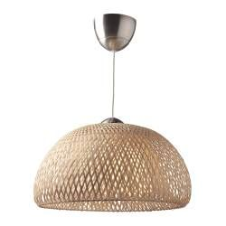"IKEA  $59.99 BÖJA Pendant lamp, rattan Shade: Bamboo Diffuser: Polycarbonate plastic Ceiling cup: Steel, Nickel plated, Clear acrylic lacquer. IKEA recommends LEDARE LED bulb E26 400 lumen. Diameter: 17 "" Cord length: 67 """