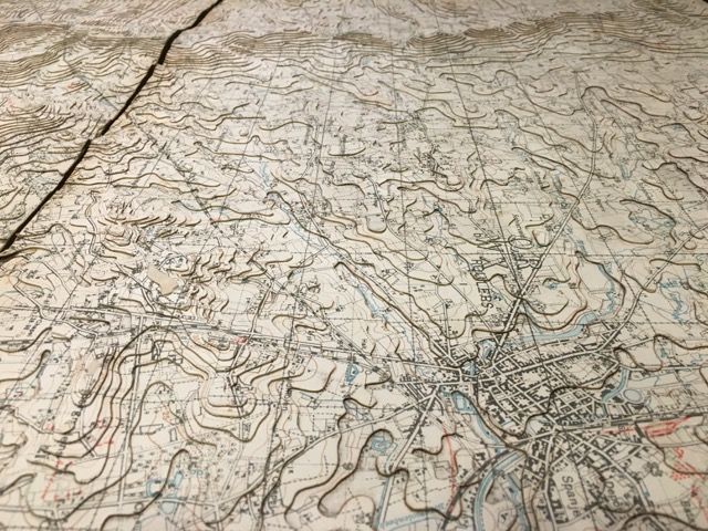 Relief map of a section of the Western Front, used by British generals to coordinate offensives. Allied trenches are marked by blue lines, German trenches by red lines. See it in 'Maps in the 20th Century: Drawing the Line' at the British Library until 1 March 2017. Read a review of the exhibition by the https://exhibitionologist.wordpress.com/2016/11/10/review-maps-and-the-20th-century-drawing-the-line/