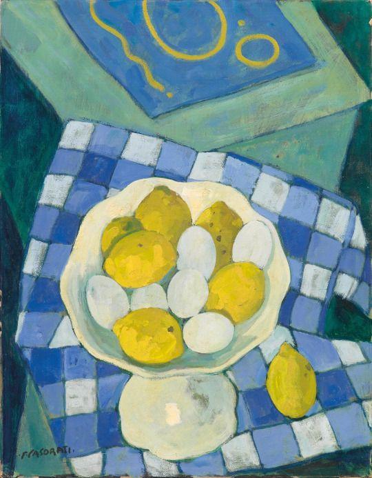 Felice Casorati ( 1883-1963) Uova e limoni, 1962. Oil on paper laid down on board, 45 x 35 cm.