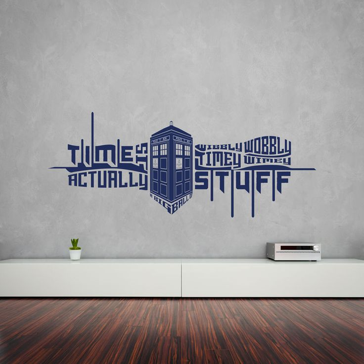 Timey Wimey Quote With Tardis Vinyl Wall Art Sticker Part 46