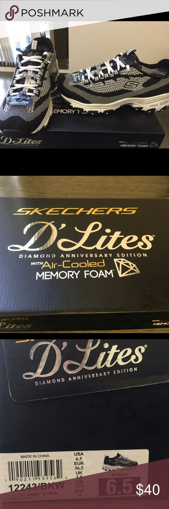 Deelites Skechers women's sneakers Black silver and white Skechers sneakers, dazzling, memory foam, air-cooling. Skechers Shoes Sneakers