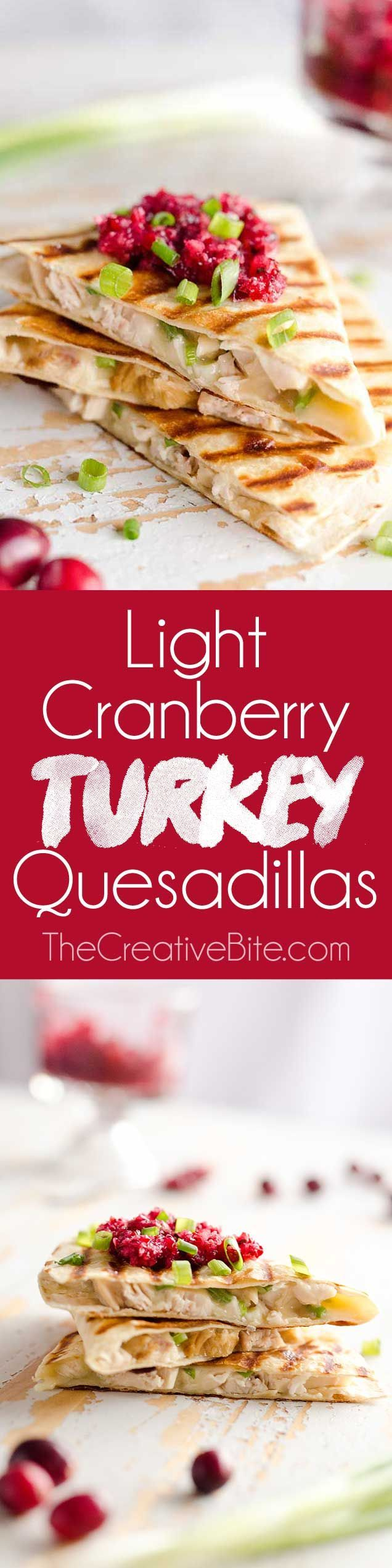 Light Cranberry Turkey Quesadilla are a healthy and easy meal perfect for using up all of that leftover turkey from Thanksgiving! Fill a light tortilla with turkey, Havarti cheese and green onions and top it with cranberry salsa for a delicious and unique dinner after the holidays! #Quesadilla #Healthy #Holiday #Leftovers