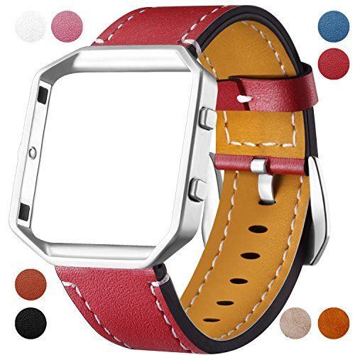 Fitbit Blaze Leather Bands with Metal Frame Dizywiee Classic Genuine Leather Wristband Fitbit Blaze Replacement Fitness Strap Women Men
