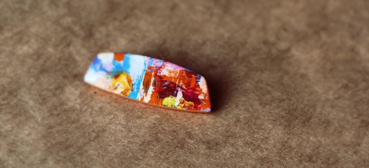Brooch. Abstract painting. Polymer clay, acrylic, epoxy resin.