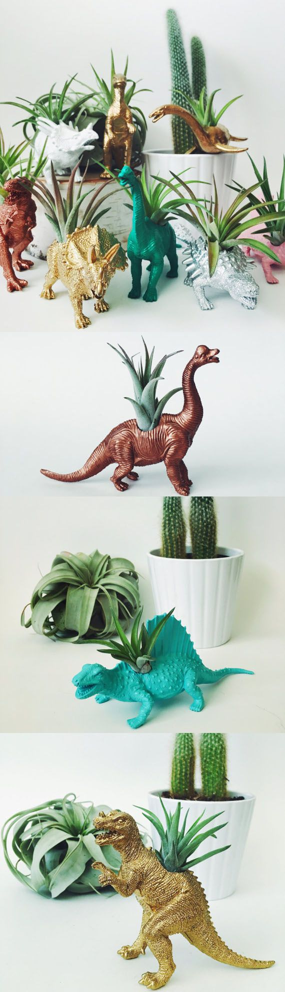 Custom Dinosaur Air Planter // Home decor gardening dinos