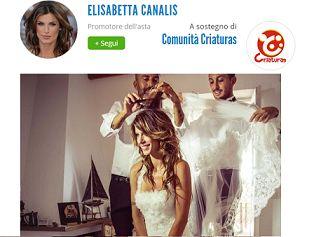 All'asta il vestito da sposa della Canalis, il ricavato a favore delle famiglie bisognose di Alghero