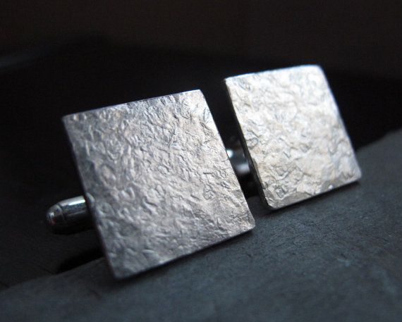 Struck - Square Hammered Silver Cufflinks by Quercus Silver