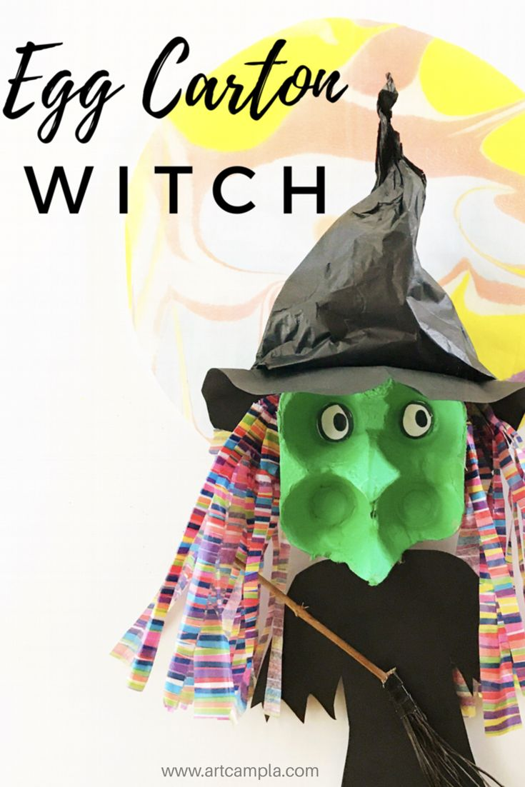 Egg Carton Witch | Halloween art projects for kids | Halloween in the art room | Egg carton crafts | Witch puppets