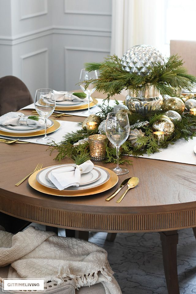 How To Create A Christmas Table With Fresh Greenery Beautiful Ornaments Christmas Table Christmas Table Settings Beautiful Table